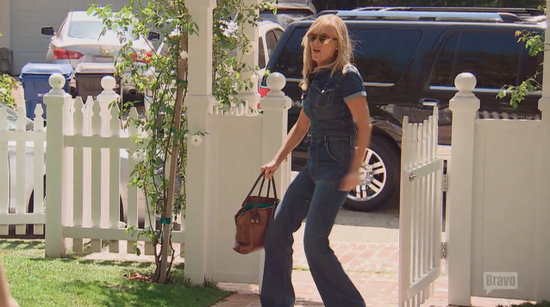 Eileen Davidson in a denim jumpsuit