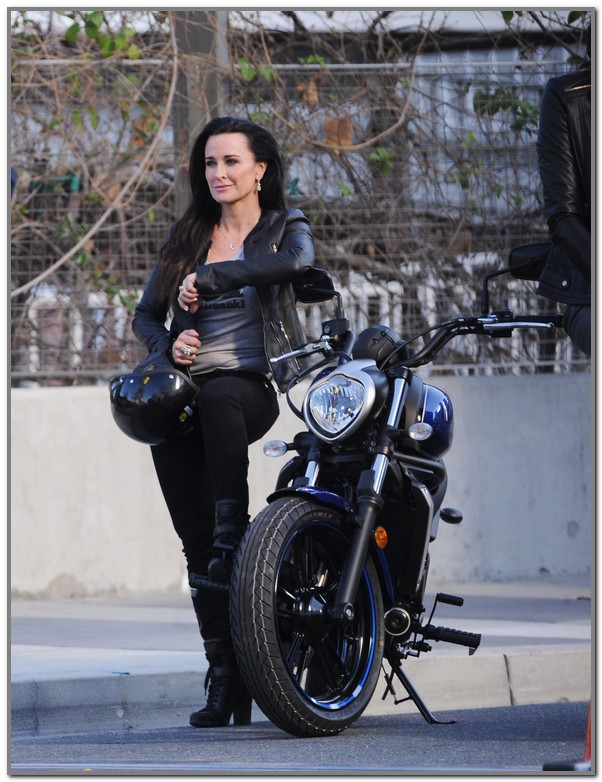 Kyle Richards poses on a motorcycle while shooting a pilot for a new reality series, along with Women's Basketball Hall of Famer Lisa Leslie, Brooke Burke and Laila Ali Featuring: Kyle Richards Where: Los Angeles, California, United States When: 13 Feb 2016 Credit: Cousart/JFXimages/WENN.com **Not available for use in Australia/New Zealand.**