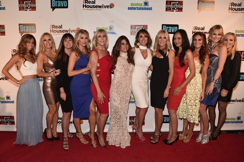 HOLLYWOOD, CA - JUNE 16: TV personalities Lydia McLaughlin, Peggy Tanous, Jeana Keough, Alexis Bellino, Vicki Gunvalson, Lynne Curtin, Kelly Dodd, Lauri Peterson, Jo De La Rosa, Lizzie Rovsek, Meghan King Edmonds and Shannon Beador attend the premiere party for Bravo's