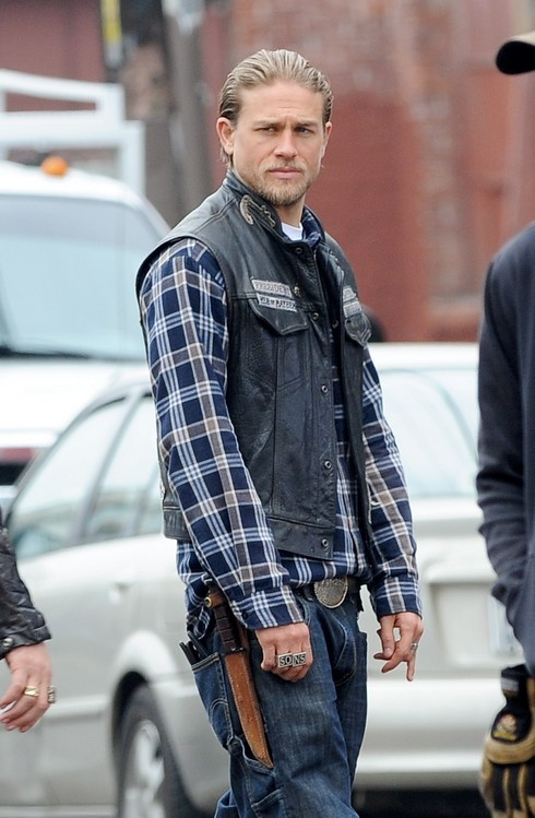 Charlie Hunnam is all smiles as he continues to film the last episodes of the hit show
