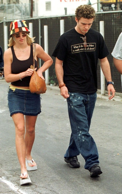 BRITNEY SPEARS with JUSTIN TIMBERLAKE leaving a cafe on Sunset Boulevard Los Angeles, California- 04.10.00 Where: Los Angeles, United States When: 04 Oct 2000 Credit: WENN