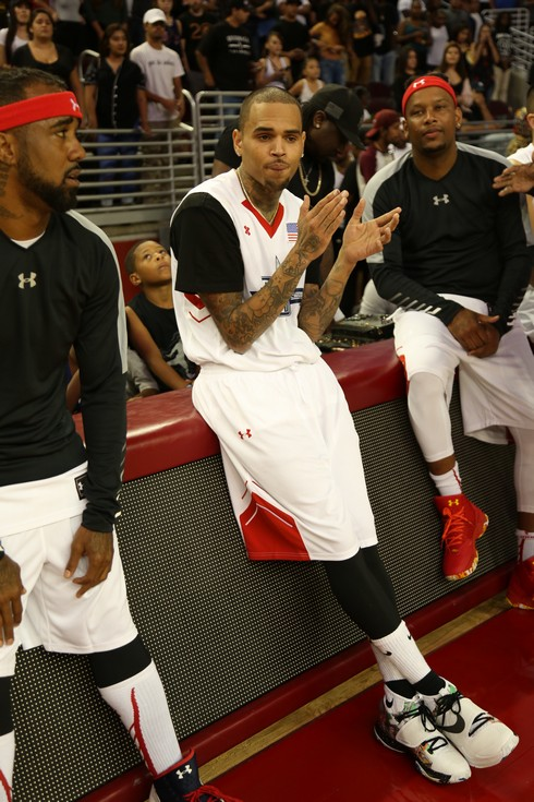 Chris Brown participating in the 2016 Power 106 All Star Celebrity basketball game, at USC Galen Center in Los Angeles, California. Featuring: Chris Brown Where: Los Angeles, California, United States When: 11 Sep 2016 Credit: Guillermo Proano/WENN.com