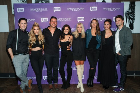 NEW YORK, NY - NOVEMBER 02: (L-R) Tom Sandoval, Ariana Madix, Jax Taylor, Scheana Shay, Stassi Schroeder, Kristen Doute, Katie Maloney and Tom Schwartz of