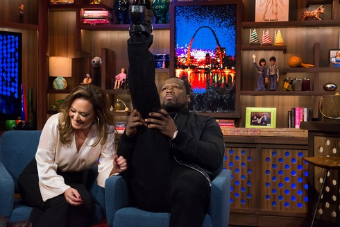 WATCH WHAT HAPPENS LIVE -- Episode 13196 -- Pictured: (l-r) Leah Remini, 50 Cent -- (Photo by: Charles Sykes/Bravo)