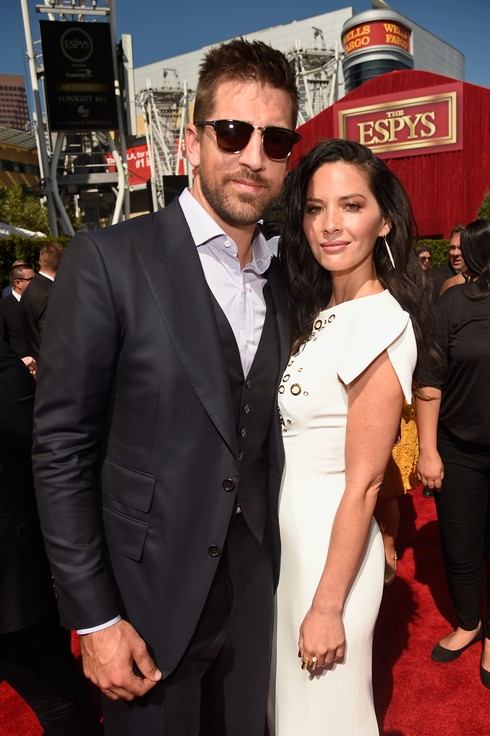 LOS ANGELES, CA - JULY 13: NFL player Aaron Rodgers (L) and actress Olivia Munn attend the 2016 ESPYS at Microsoft Theater on July 13, 2016 in Los Angeles, California. (Photo by Kevin Mazur/Getty Images)