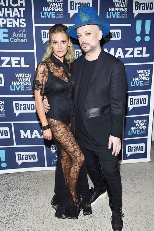WATCH WHAT HAPPENS LIVE WITH ANDY COHEN -- Episode 14016 -- Pictured: (l-r) Dorit Kemsley, Boy George -- (Photo by: Charles Sykes/Bravo)