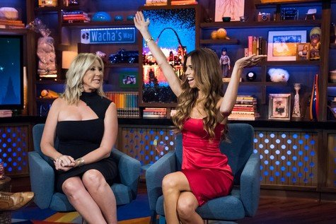 WATCH WHAT HAPPENS LIVE WITH ANDY COHEN -- Episode 14119 -- Pictured: (l-r) Vicki Gunvalson, Lydia McLaughlin -- (Photo by: Charles Sykes/Bravo)