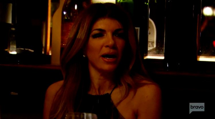 Teresa-Giudice-Black-Dress-Dinner-Open-Mouth-RHONJ