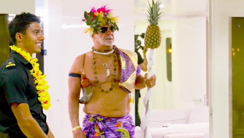 Captain Lee in Luau costume