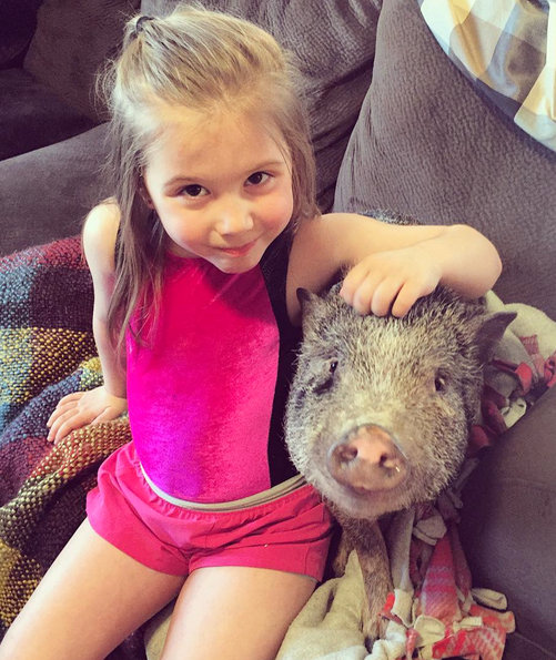 Aubree and Pete the Pig